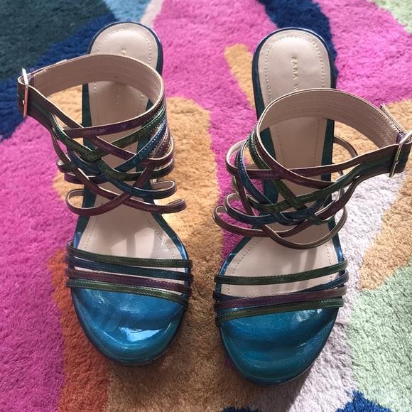 Zara Metallic Platform Heels
